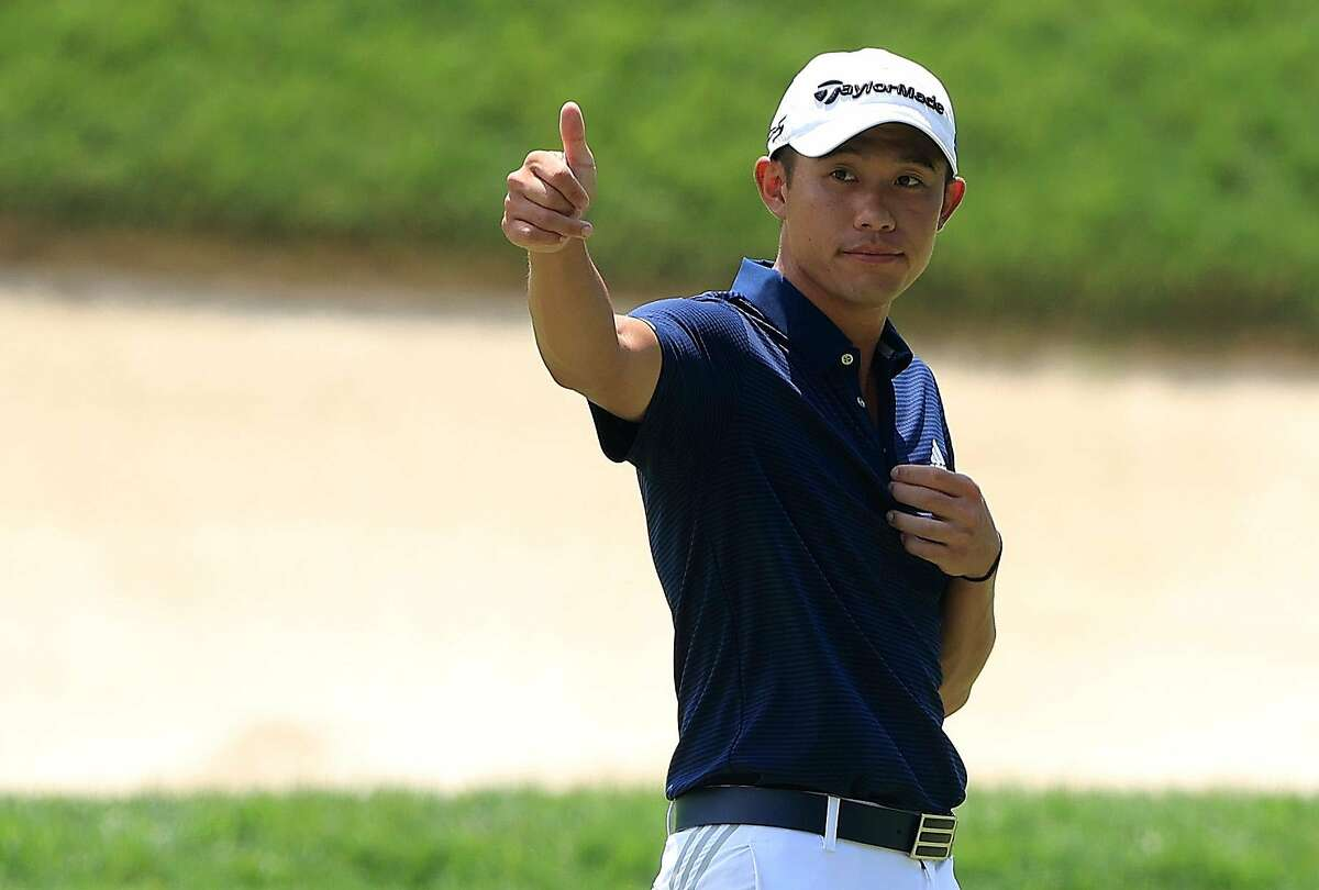 DUBLIN, OHIO - JULY 10: Collin Morikawa of the United States reacts on the ninth green during the second round of the Workday Charity Open on July 10, 2020 at Muirfield Village Golf Club in Dublin, Ohio. (Photo by Sam Greenwood/Getty Images)