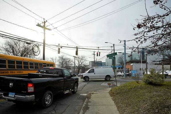 Drivers negotiate through the busy intersection of Pulaski Street and Greenwich Avenue in Stamford on Feb. 4.