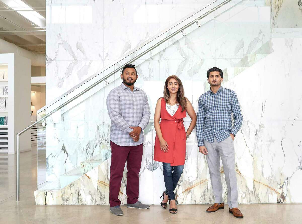 Sho Sarker, from left, Yen Sethia and Jay Sethia pose for a photo Monday, June 29, 2020, at Pomegranit + ADR in Houston.