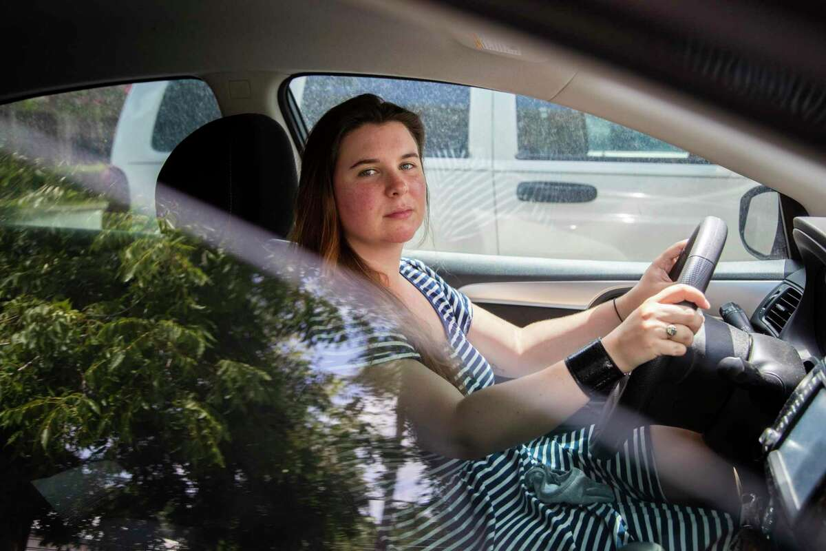 Before starting a job as a Houston Chronicle reporter, Emma Balter, 29, lived in cities where driving was not a common task because of public transportation. Now in Houston, she's required to drive often, and it has taken her extra effort to be fully comfortable on H-Town's streets. Wednesday, July 8, 2020, in Houston.