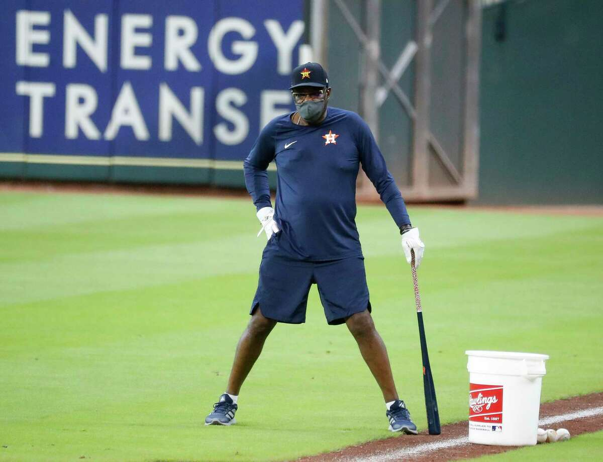 Houston Astros manager Dusty Baker during the Astros summer camp at Minute Maid Park, Friday, July 10, 2020, in Houston.