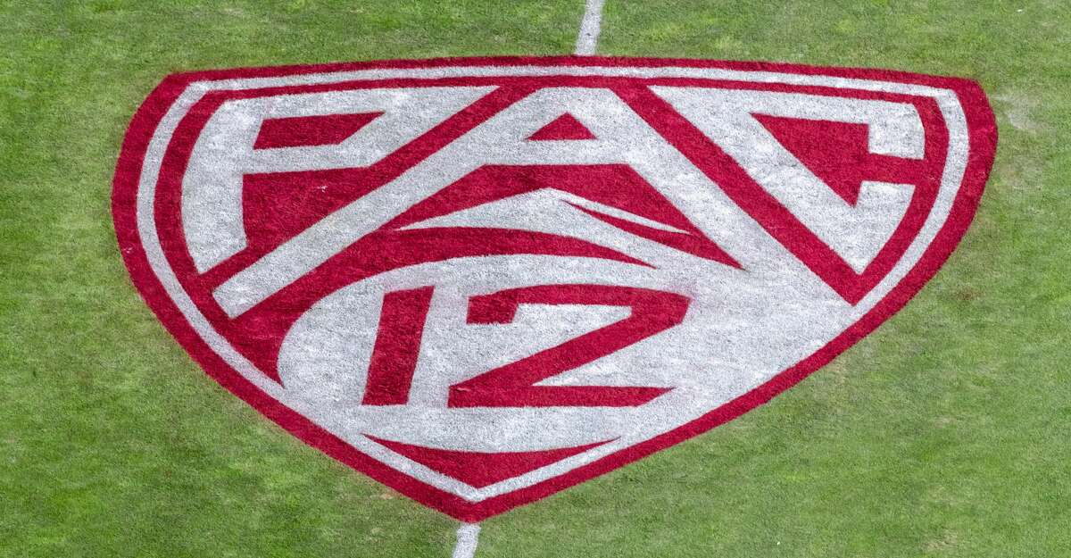 A detail view of the Pac-12 logo on the field at Stanford Stadium prior to the 122nd Big Game between the Stanford Cardinal and the California Golden Bears on November 23, 2019 in Palo Alto, California. (Photo by David Madison/Getty Images)