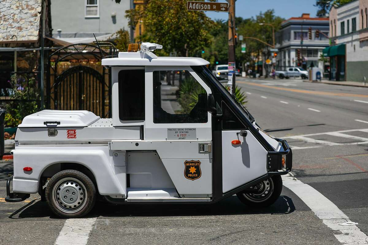 A Berkeley Police vehicle drives down Addison Street on Wednesday, July 8, 2020 in Berkeley, California.