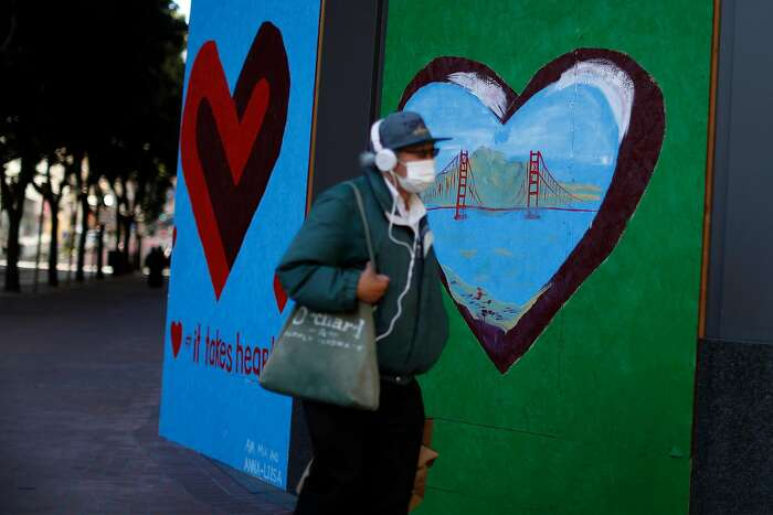 Powell Street in San Francisco, Calif., on Thursday, July 9, 2020. In order for daily life to return to normal, during the coronavirus pandemic, many changes will have to take place in society.