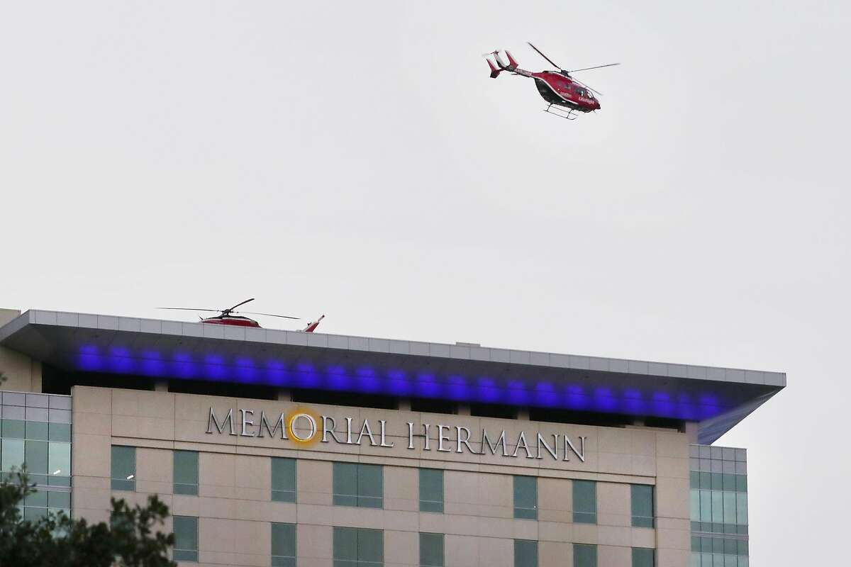 A medical helicopter leaves the roof of one of the Memorial Hermann hospital buildings n the Texas Medical Center complex Friday, Jul. 3, 2020 in Houston, TX.