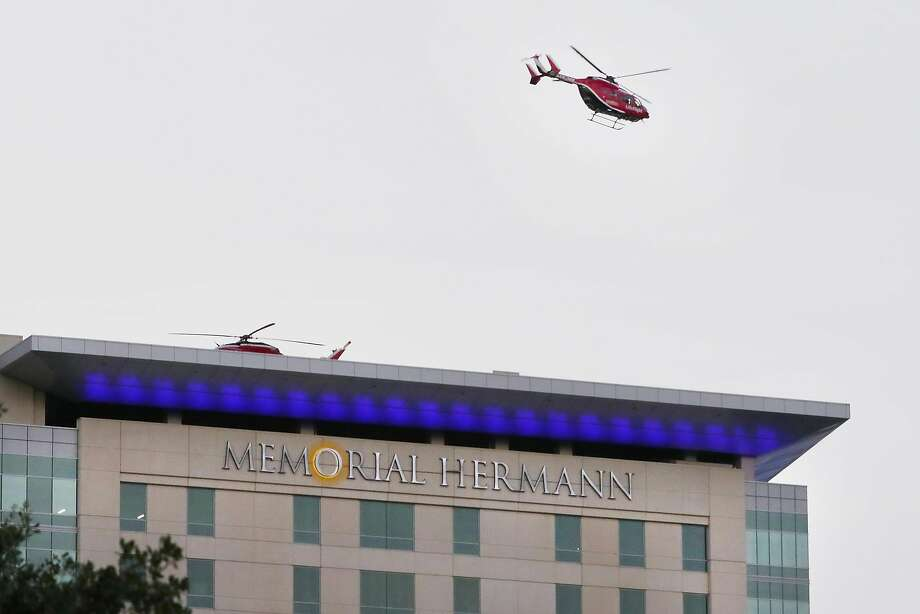 A medical helicopter leaves the roof of one of the Memorial Hermann hospital buildings n the Texas Medical Center complex Friday, Jul. 3, 2020 in Houston, TX. Photo: Michael Wyke, Contributor