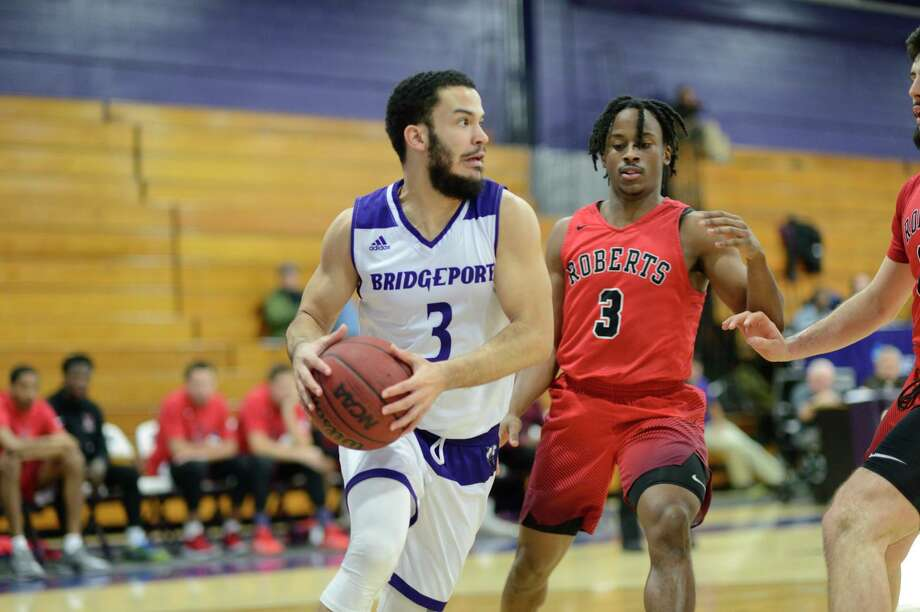 Bridgeport basketball player Floyd Preito in action during a game in 2019. Photo: University Of Bridgeport Athletics