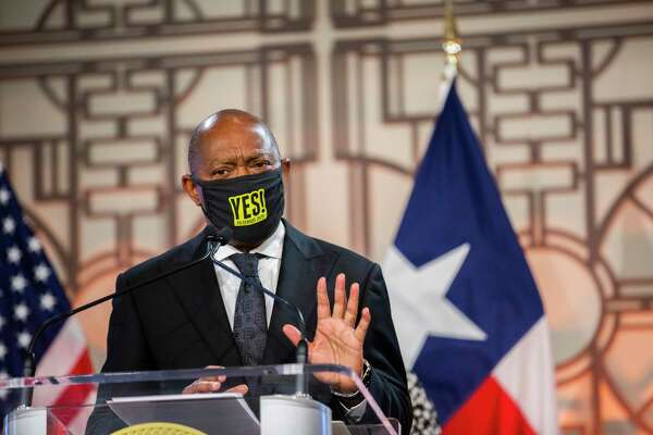 Houston Mayor Sylvester Turner answers questions on Thursday, July 9, 2020, in Houston, about the leadership of the Texas GOP suing because of the cancelation to its in-person convention.