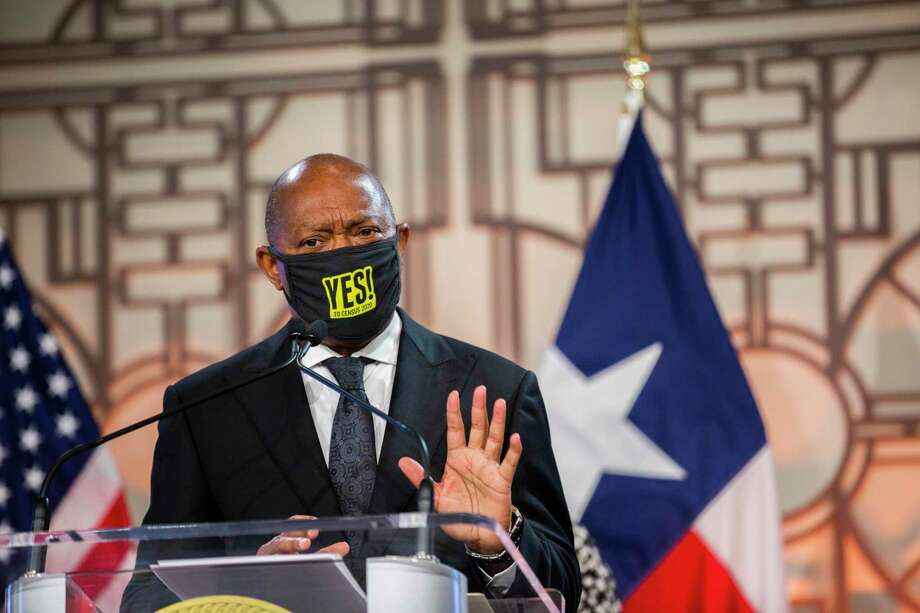 Houston Mayor Sylvester Turner, pictured at City Hall Thursday, July 9, 2020, announced that some live events can restart. Photo: Marie D. De Jesús, Houston Chronicle / Staff Photographer / © 2020 Houston Chronicle