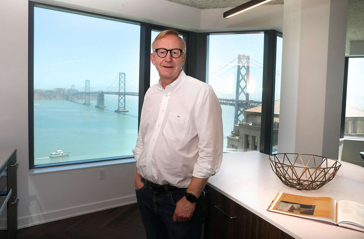 Tishman Speyer managing director Carl Shannon shows a kitchen at Jeannie Gang's tower Mira on Tuesday, June 30, 2020, in San Francisco, Calif.