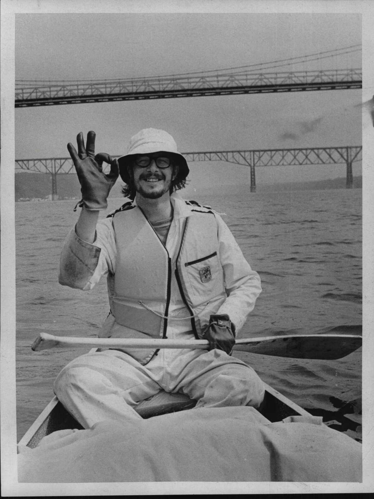 Joe Higgins photographed Mickey Palmer wearing a smile of confidence as he passed under the Poughkeepsie-Highland Bridge. The Hudsonauts were halfway to New York. 1970 (Times Union Archive)