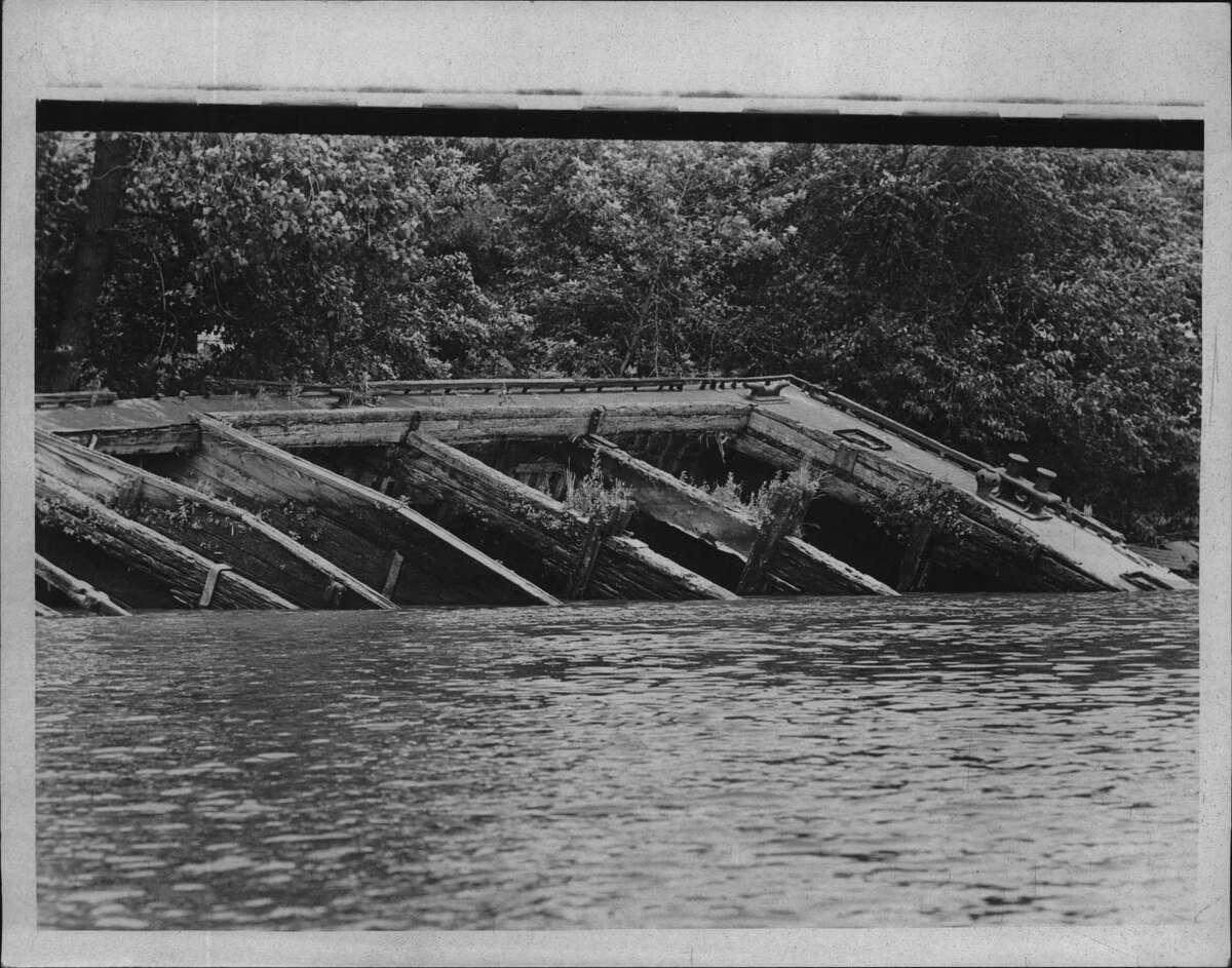 Abandoned bridge, Hudson River; Hudsonauts project. July 1970 (Times Union Archive)