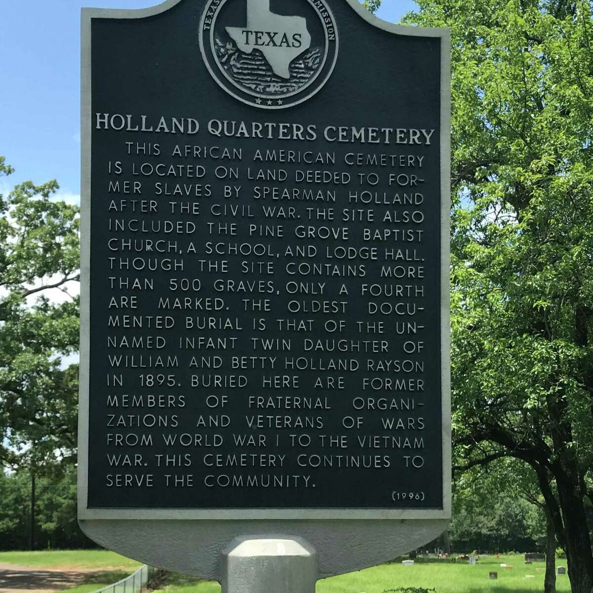The cemetery at Holland Quarters is the final resting place for descendants of slaves who worked on the Holland Plantation near Carthage.