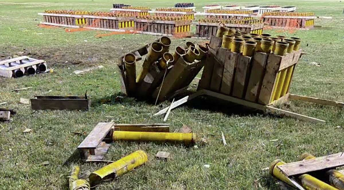 A screenshot from the video showing the damage from the fireworks detonated on July 2, 2020, in Naugatuck, Conn., during the town's annual fireworks.