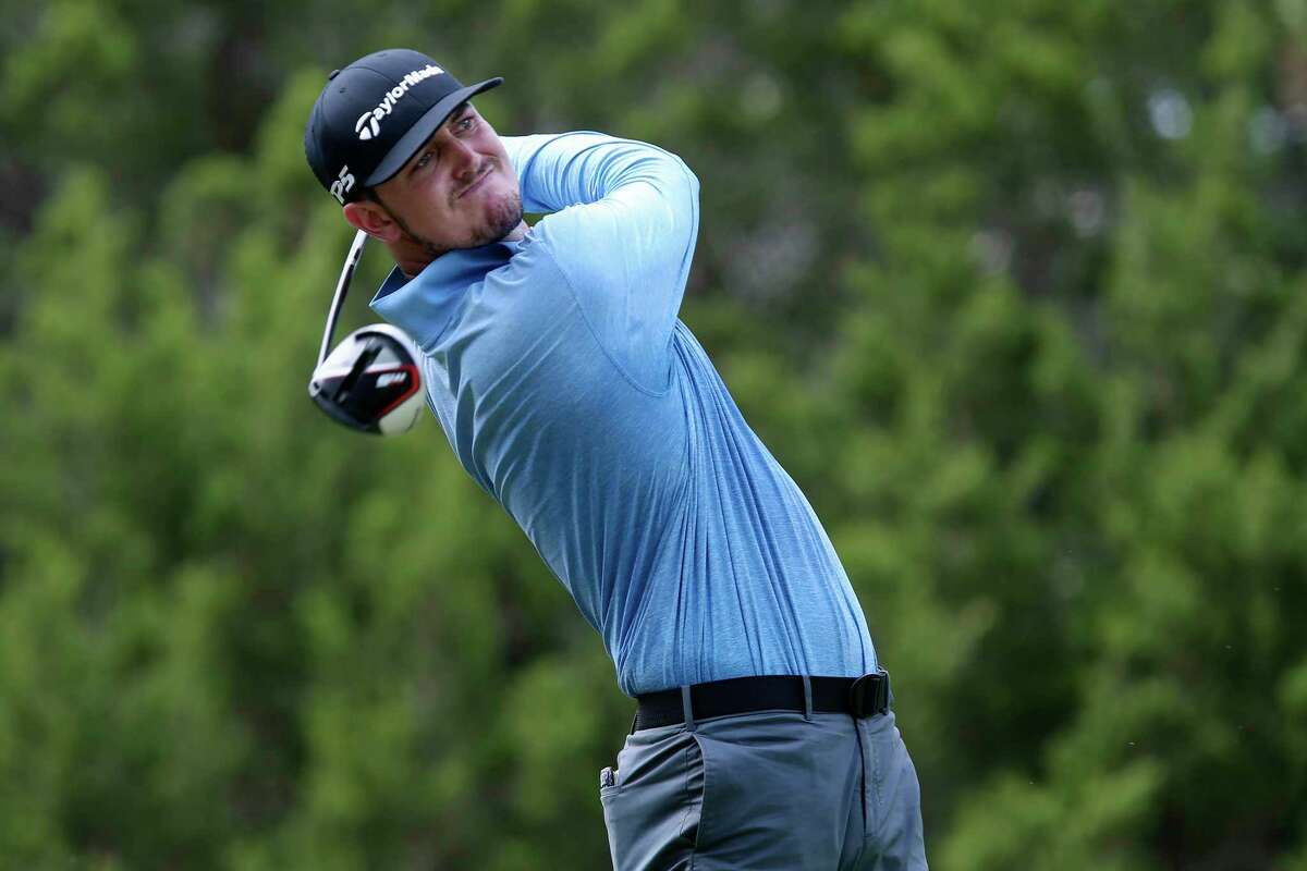 Austen Truslow, of New Smyrna Beach, Florida, tees off second during the second day of the four-day PGA's Korn Ferry Tournament at the Canyons Course of TPC San Antonio, Friday, July 10, 2020.