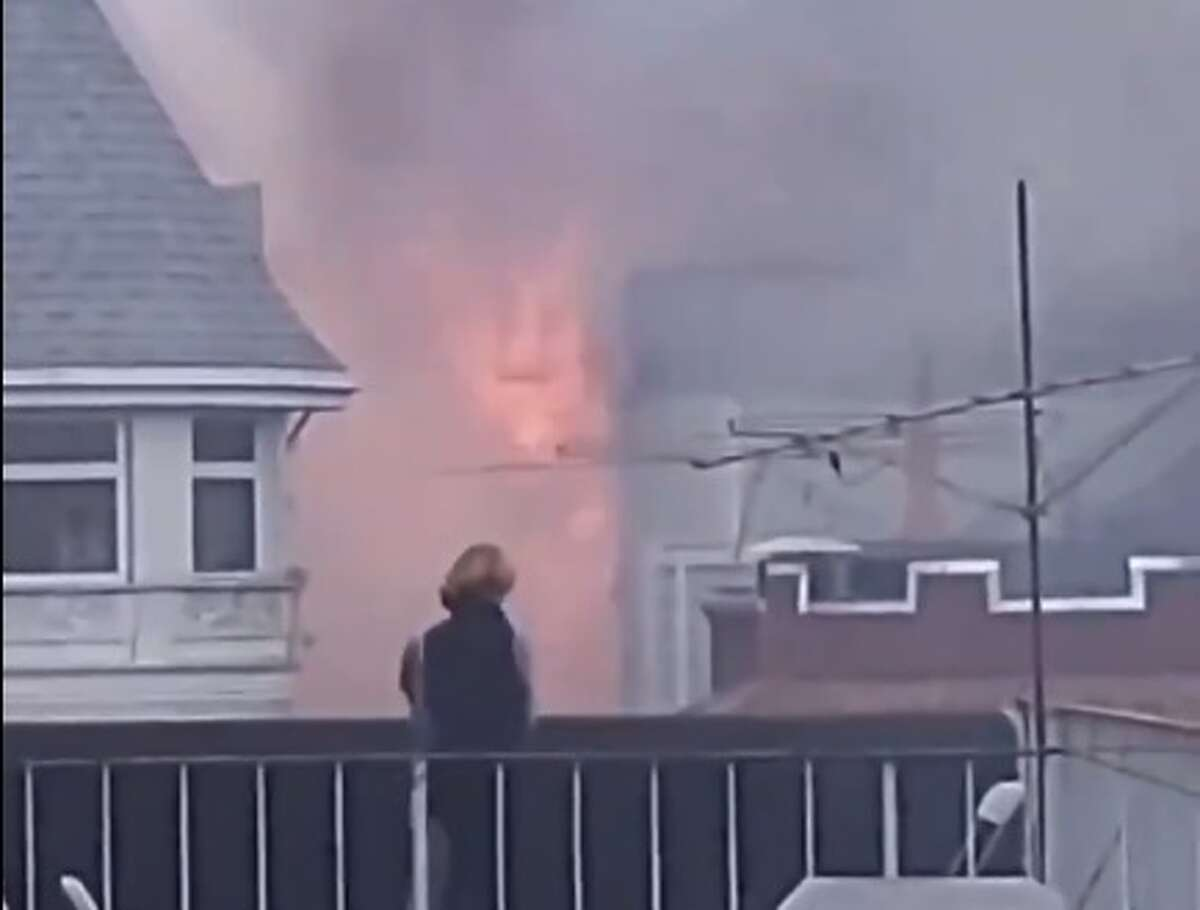 A fire erupted in the Pacific Heights neighborhood of San Francisco on Friday, July 10, 2020.