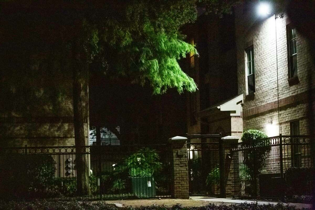 Gate at Camden Greenway Apartments where members of the Houston Forensic Science Center has been seen coming and going on Friday, July 10, 2020, in Houston. The Houston Police Department reported founding to deceased females inside an apartment near that area.