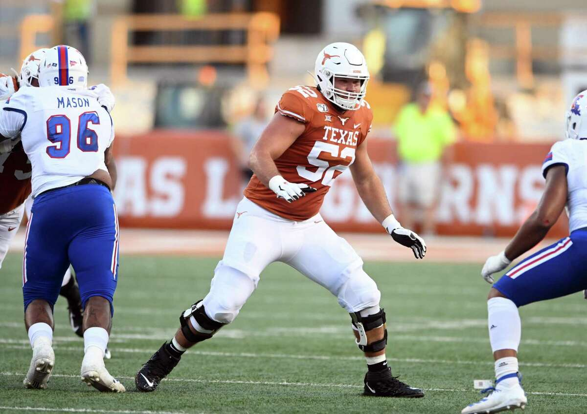 Longhorns junior tackle Sam Cosmi, an Atascosita grad, is one of college players at the OL Masterminds Summit.