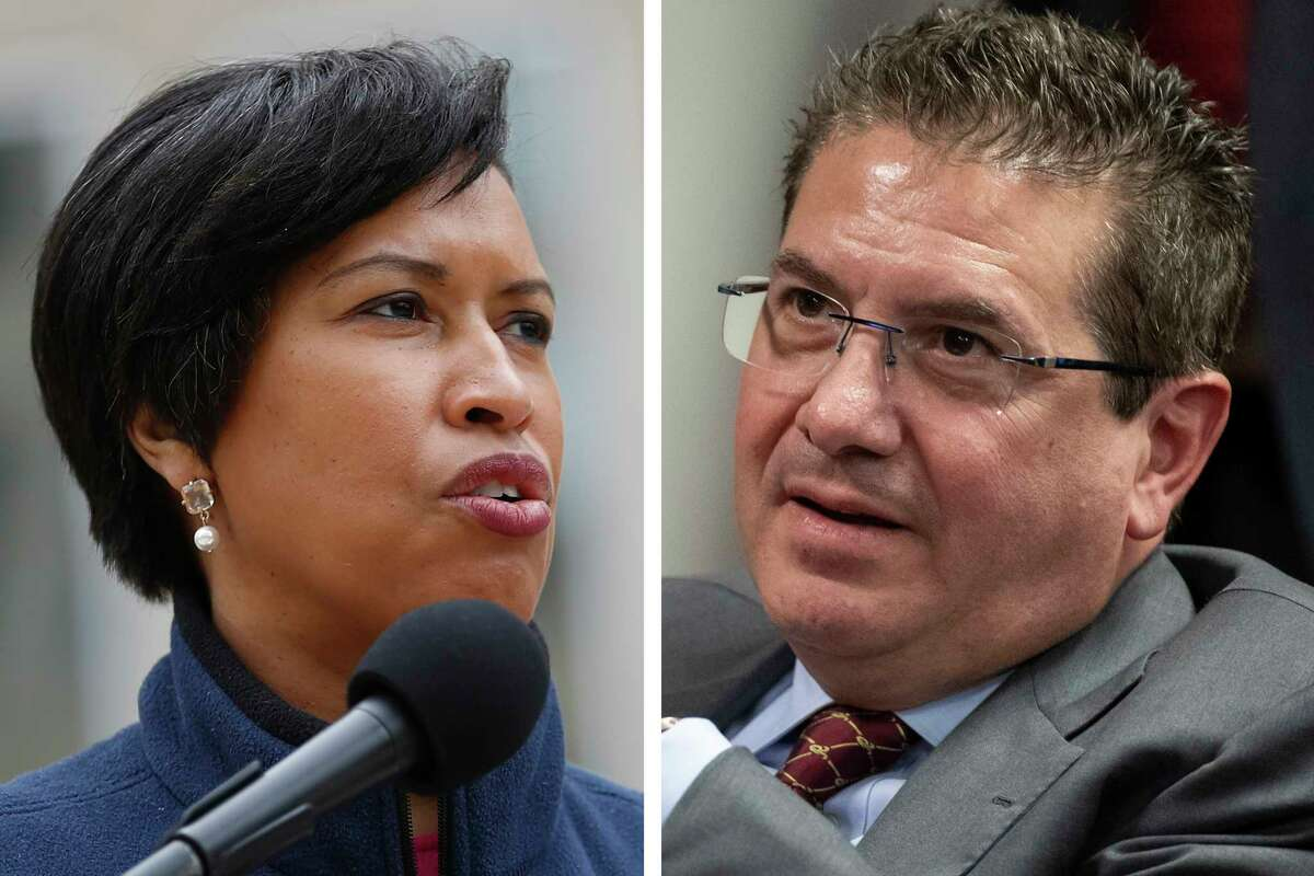 FILE - These are 2020 file photos showing District of Columbia Mayor Muriel Bowser, left, and Washington Redskins NFL football team owner Dan Snyder, right. The recent national conversation about racism has renewed calls for the Washington Redskins to change their name. D.C. mayor Muriel Bowser called the name an