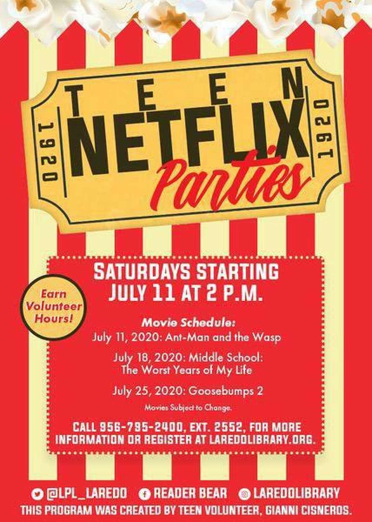 """La Biblioteca Pública de Laredo inicia hoy el evento """"Teen Netflix Parties"""", que busca promover la lectura entre la juventud a través de la proyecición de filmes basados en obras literarias."""