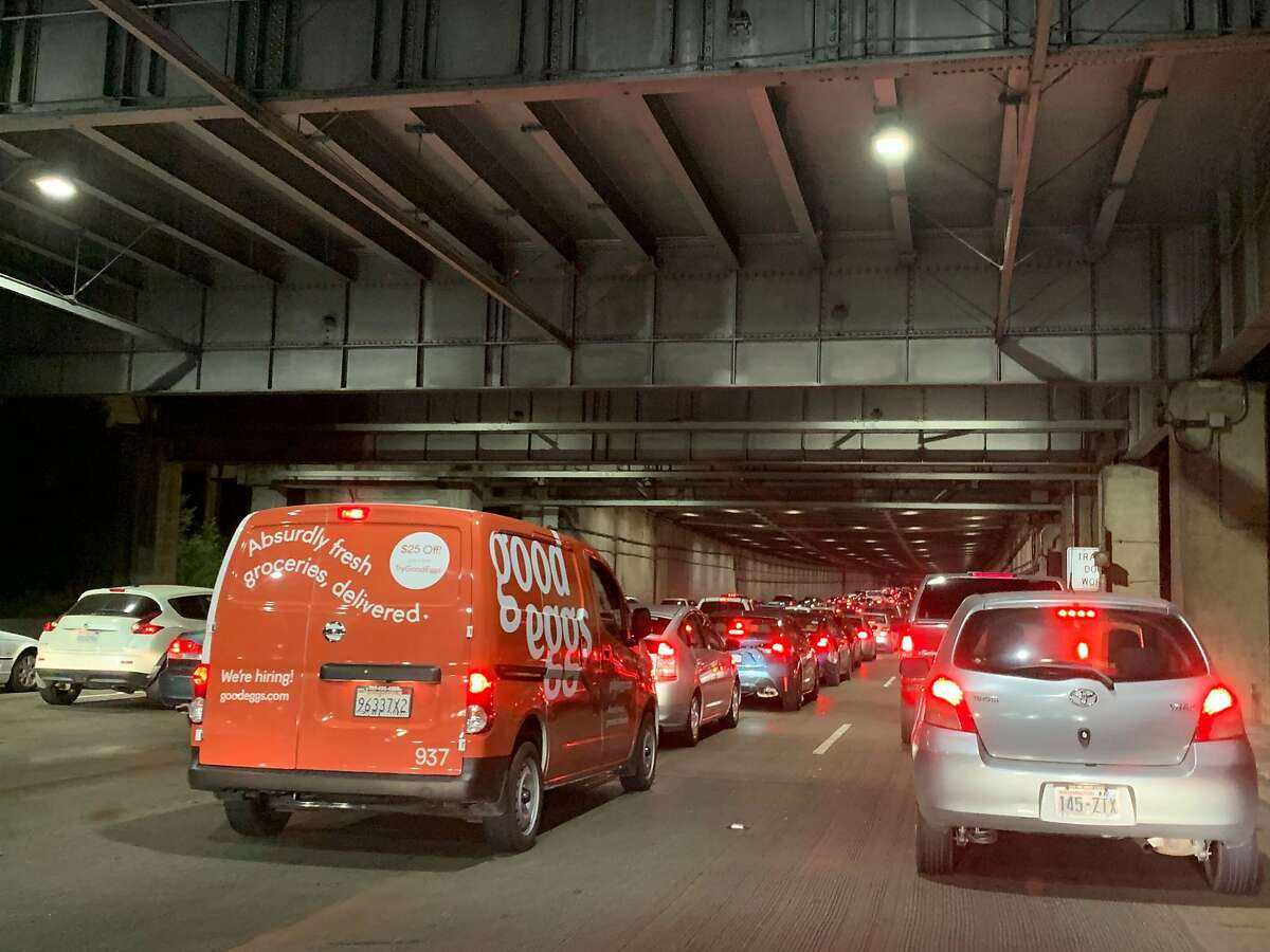Traffic backed up for about an hour Friday night on the Bay Bridge due to an accident.