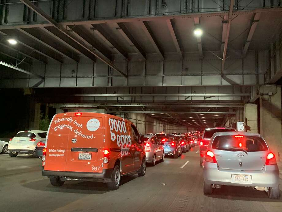 Traffic backed up for about an hour Friday night on the Bay Bridge due to an accident. Photo: Roland Li