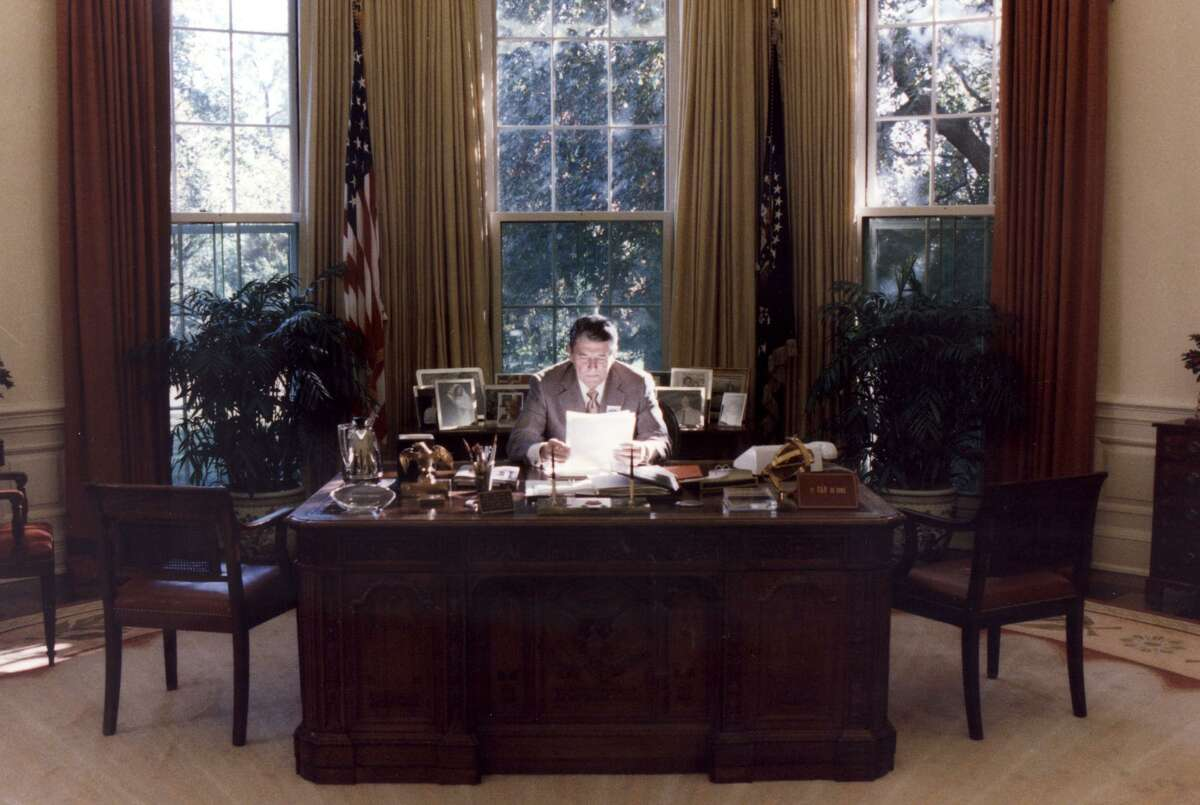 President Ronald Reagan in the Oval Office of the White House in 1988.