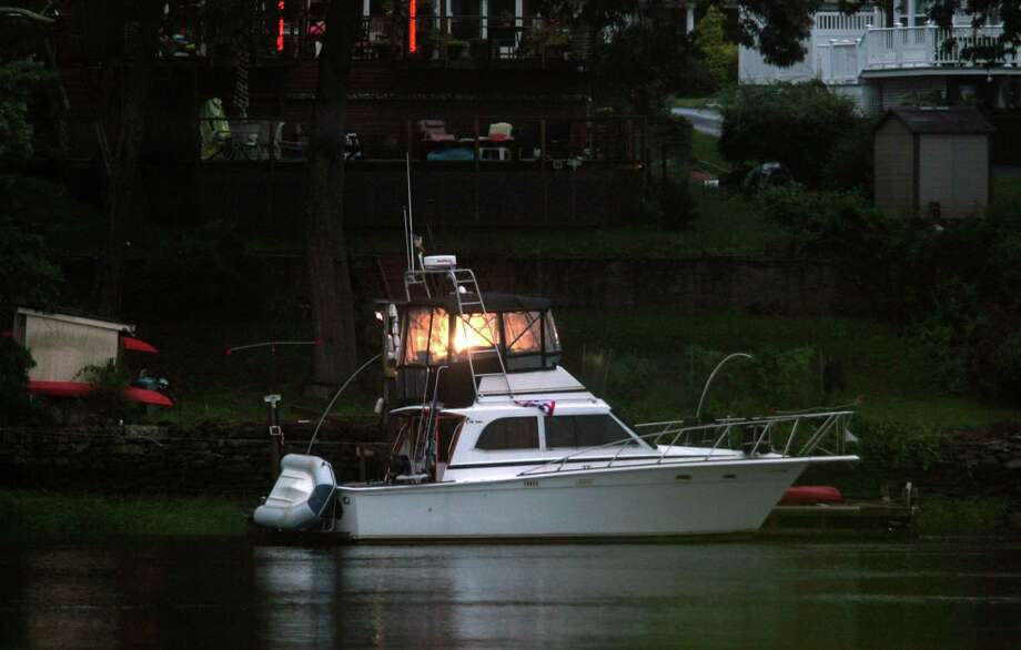 Boats are docked at a home along the Housatonic River in Stratford, Conn., on Friday July 10, 2020. A rare tropical storm named Fay started Friday evening hitting the area with winds from 35-45 mph and gusts up to 50 mph. Photo: Christian Abraham / Hearst Connecticut Media / Connecticut Post