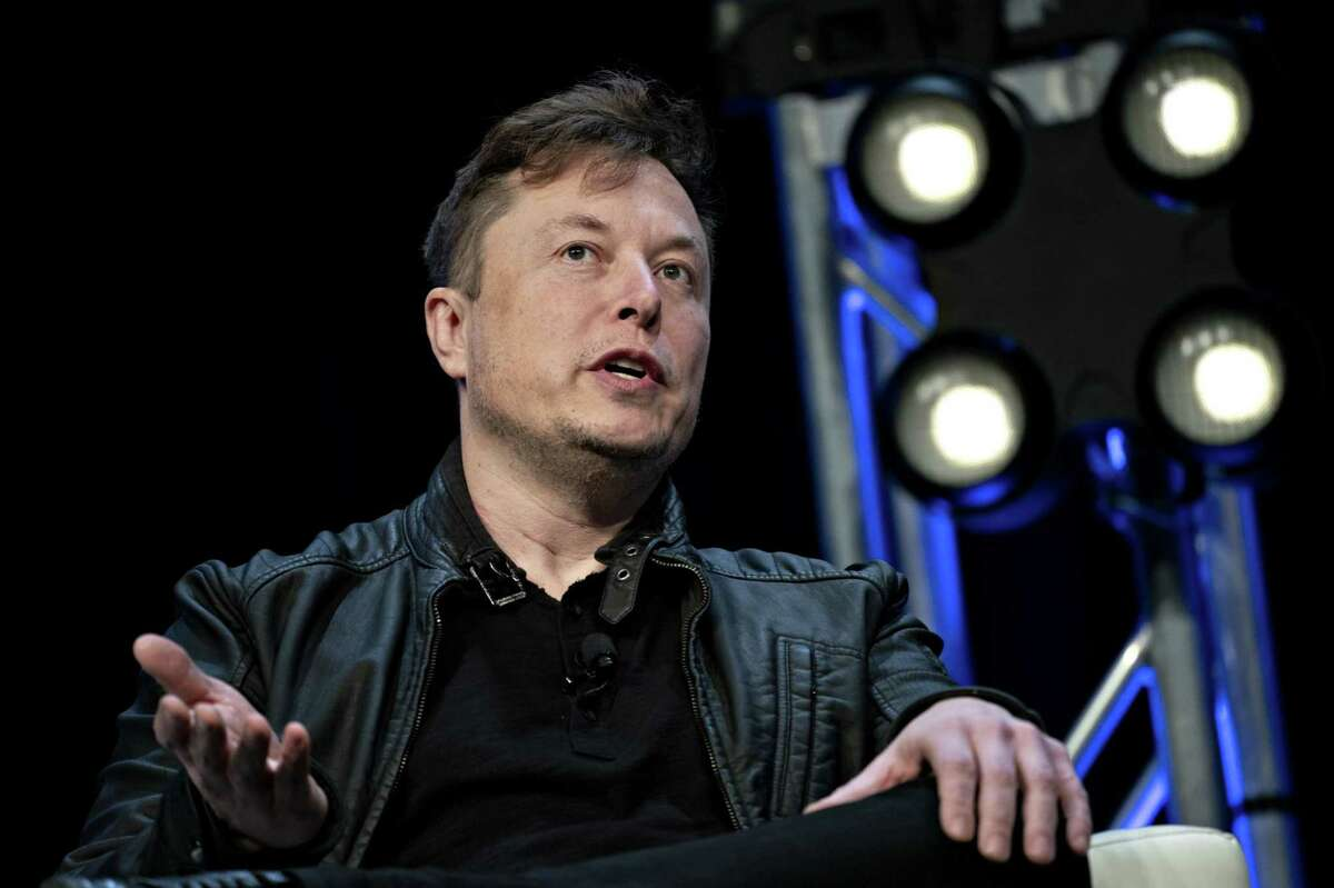 Elon Musk, founder of SpaceX and chief executive officer of Tesla Inc., speaks at the Satellite 2020 Conference in Washington, on March 9, 2020.