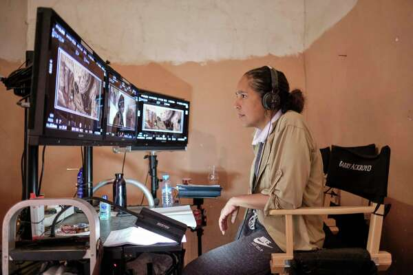 """Director Gina Prince-Bythewood on the set of """"The Old Guard."""""""