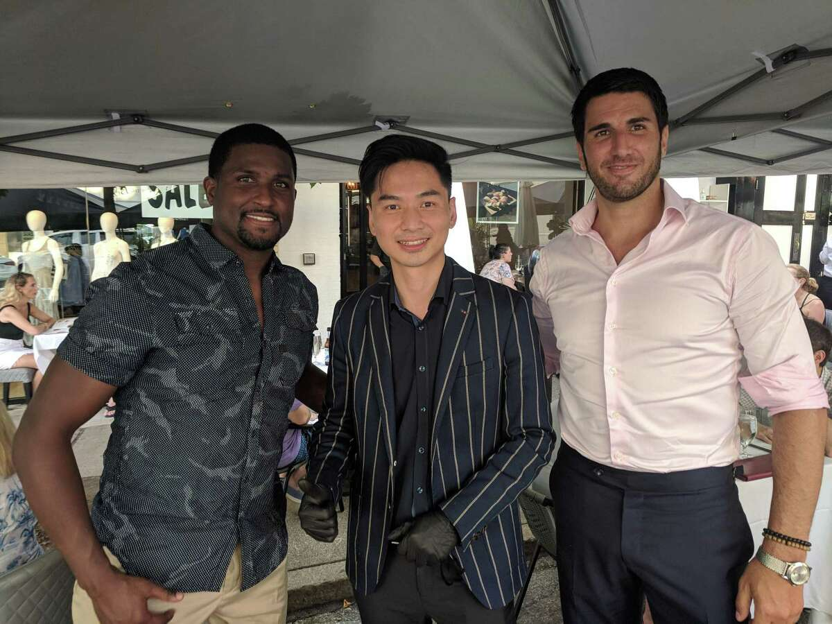 Major League Soccer professional Edson Buddle (left) with Miku Sushi co-owner K Dong and Peter Antoniades, owner of Antoniades Textile Group, at Miku Sushi on Greenwich Avenue. Soccer star in Greenwich Former Major League Soccer player Edson Buddle, who serves as head coach of USL League Two side Westchester Flames, was seen dining outside at Miku Sushi on Greenwich Avenue this July. The New Rochelle, N.Y., native was dining with Miku co-owner K Dong as well as Peter Antoniades, owner of Antoniades Textile Group, and Eva Moyé, a local menswear designer.