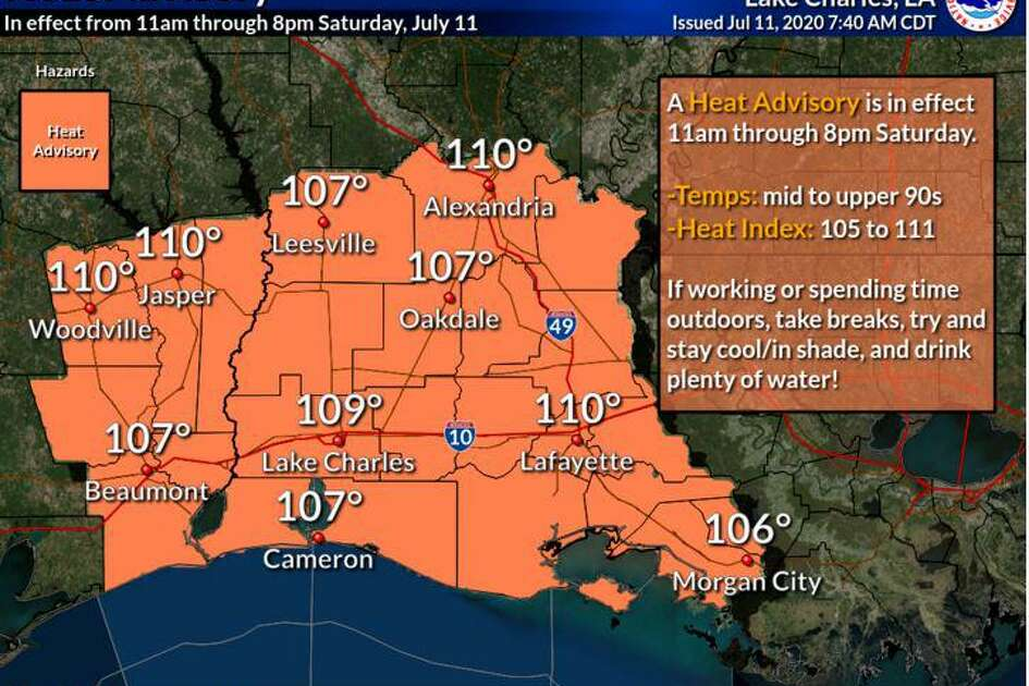 The National Weather Service office in Lake Charles issued a warning Saturday about triple digit heat indexes expected to last over the next several days.