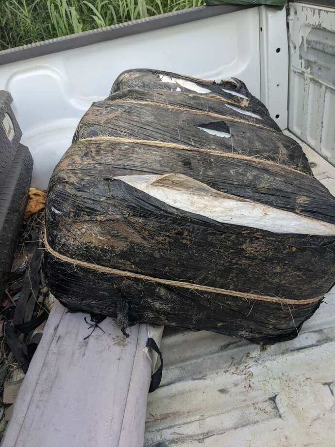 Authorities said they recovered this bundle of marijuana following a pursuit with drug-laden vehicle that drove into the Rio Grande. Photo: Courtesy