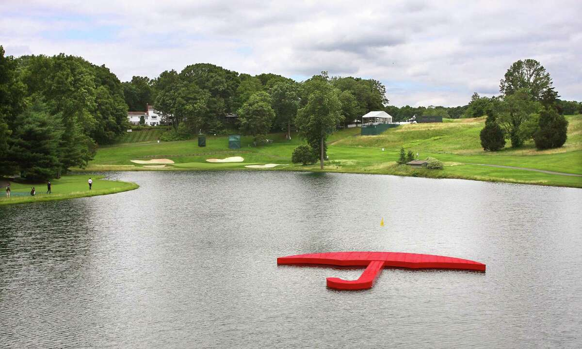 The Travelers umbrella island off of the 16th tee at the TPC River Highlands in Cromwell.