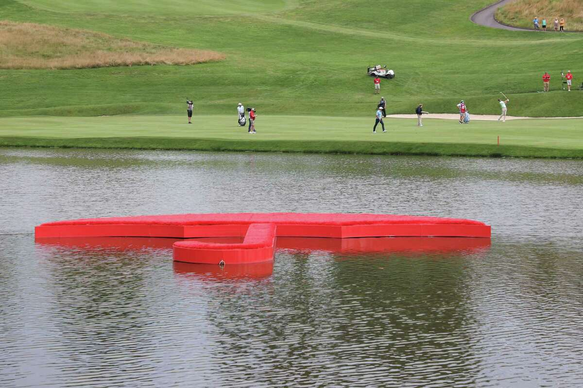 Brendon Todd plays a shot on the 17th hole during the final round of this year's Travelers Championship.