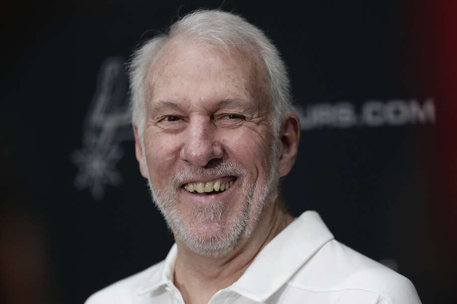FILE - In this Sept. 30, 2019, file photo, San Antonio Spurs head coach Gregg Popovich talks with the media during NBA basketball media day in San Antonio. Freshmen at the United States Air Force Academy are called doolies, and the experience for those first-year cadets can be extremely difficult. Popovich, class of 1970, hasn't forgotten those days. And for the San Antonio coach, a couple days of lockdown at Walt Disney World brought back the memories of doolie life. (AP Photo/Eric Gay, File) Photo: Eric Gay, Associated Press