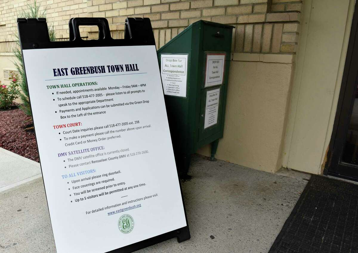 Information board and drop off box at the East Greenbush Town Hall entrance on Friday July 10, 2020 in East Greenbush, N.Y. (Lori Van Buren/Times Union)
