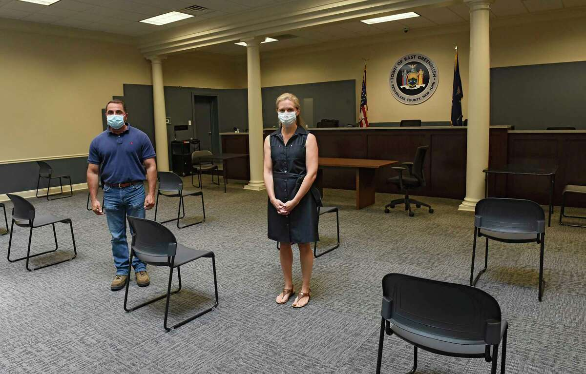Commissioner of Public Works Dan Fiacco and Town Clerk Ellen Pangburn stand in the redesigned meeting room at the East Greenbush Town Hall on Friday July 10, 2020 in East Greenbush, N.Y. (Lori Van Buren/Times Union)