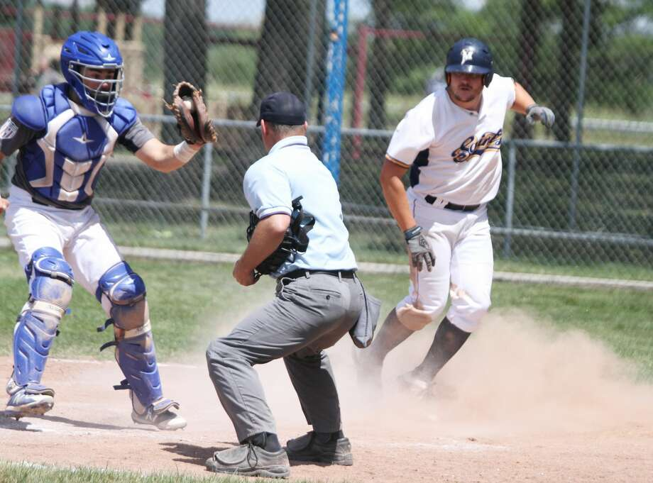 The Manistee Saints split its doubleheader against the Oil City Stags on Saturday, July 11, at Rietz Park. Photo: Dylan Savela/News Advocate