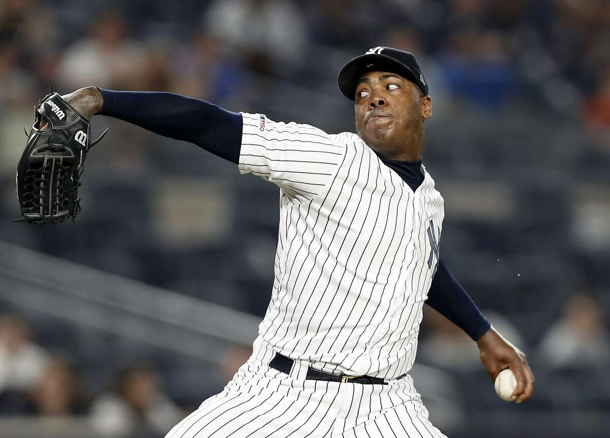 Yankees closer Aroldis Chapman, seen in a game in July 2019, had 37 saves for the AL East champs.