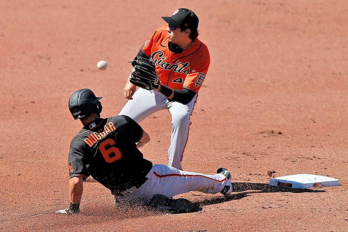 San Francisco Giants Wilmer Flores Steven gets Giants Steven Duggar out at second base during Spring Training at Oracle Park on Saturday, July 11, 2020, in San Francisco, Calif.