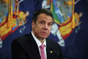 MANHASSET, NEW YORK - MAY 06:  New York Governor Andrew Cuomo speaks during a Coronavirus Briefing At Northwell Feinstein Institute For Medical Research on May 06, 2020 in Manhasset, New York. (Photo by Al Bello/Getty Images)