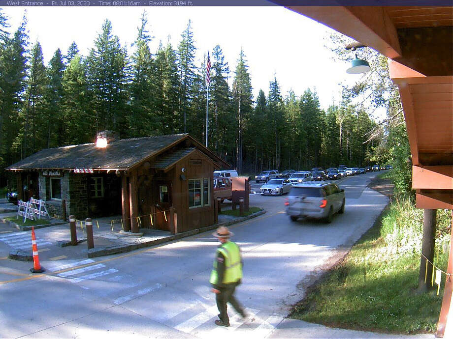 With only one entrance open to Glacier National Park, outdoors-eager visitors have faced long lines to get to the wilderness in this corner of northwestern Montana. Photo: Glacier National Park Webcam. / Glacier National Park webcam