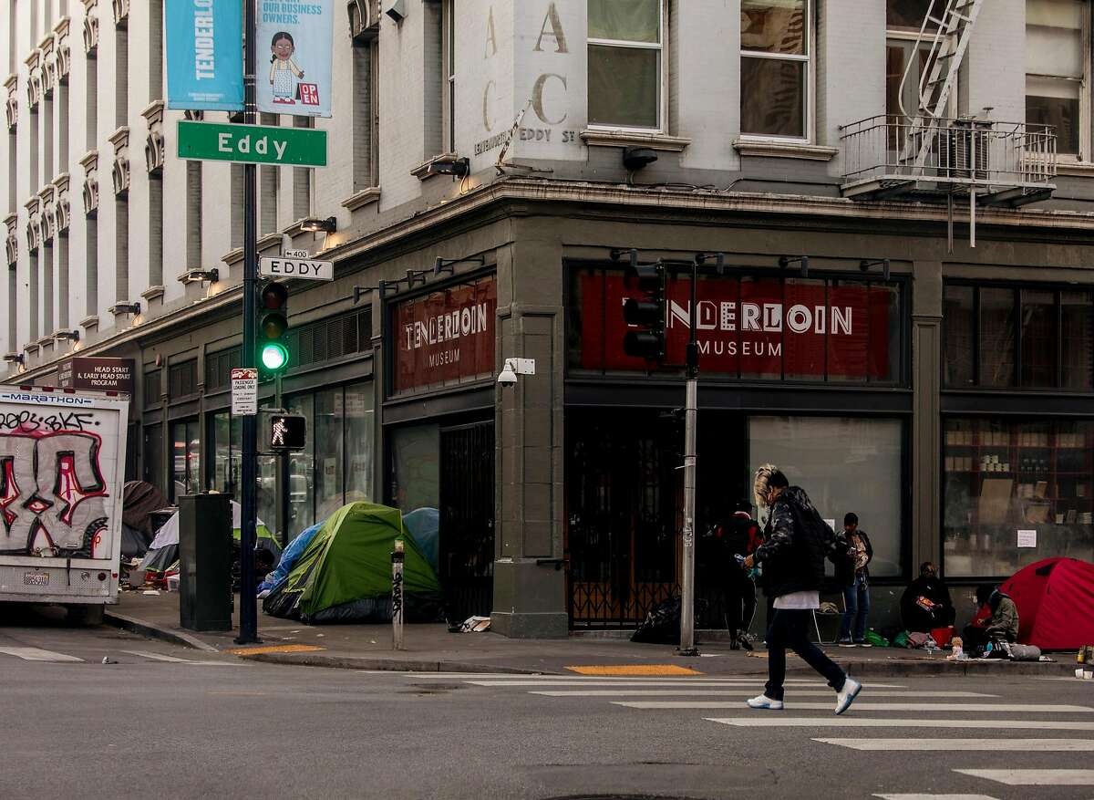 A surveillance camera outside the Tenderloin Museum in San Francisco, on May 21, 2020. The San Francisco police do not collaborate with Chris Larsen on the camera project. (Cayce Clifford/The New York Times)