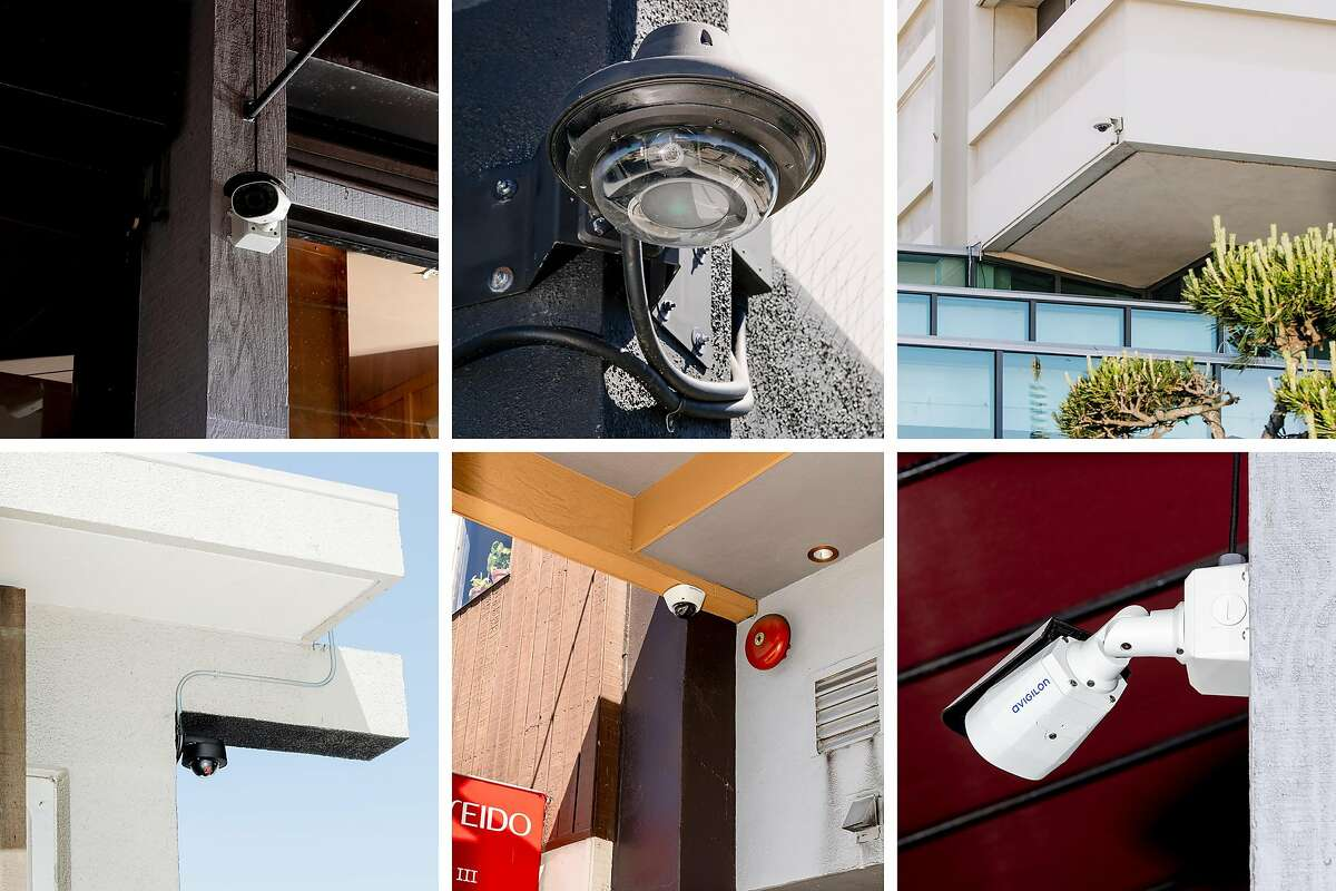 A combination photo shows six surveillance cameras, all in the Japantown neighborhood of San Francisco, on May 21, 2020. Chris Larsen began funding camera surveillance in 2012; now his project covers 135 blocks. (Cayce Clifford/The New York Times)