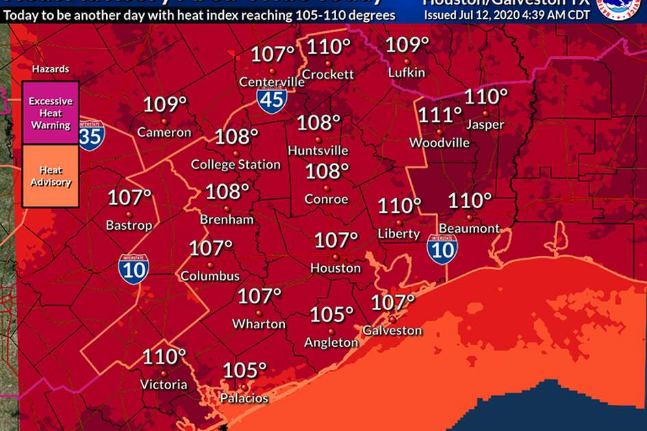 The National Weather Service issues a heat advisory for Southeast Texas for the second consecutive day as the heat index is expected to be well into the triple digits.
