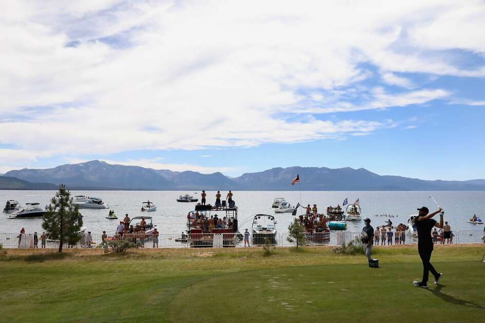 Stephen Curry of the Golden State Warriors plays a tee shot on the 17th hole during round one of the American Century Championship at Edgewood Tahoe South golf course on July 10, 2020 in Lake Tahoe, Nevada. (Photo by Christian Petersen/Getty Images)
