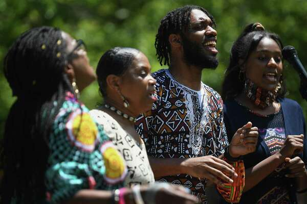 "The New Hope Baptist Church Choir performs at Community for Change Presents: ""Voices For Change"" on the Danbury Green in Danbury, Conn. on Sunday, July 12, 2020."