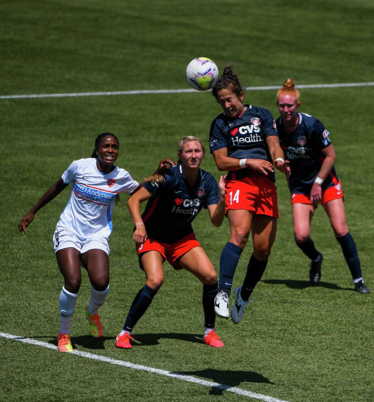 HERRIMAN, UT - JULY 12: Paige Nielsen #14 of Washington Spirit attempts a header during a game against the Houston Dash on day 7 of the NWSL Challenge Cup at Zions Bank Stadium on July 12, 2020 in Herriman, Utah.