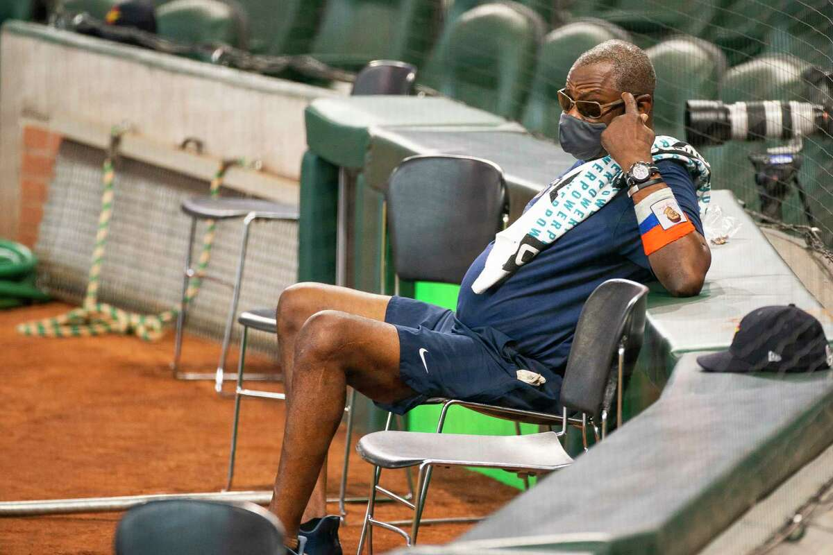 Houston Astros head coach Dusty Baker watches batting practice during Astros summer training camp workout, Sunday, July 12, 2020, at Minute Maid Park in Houston.